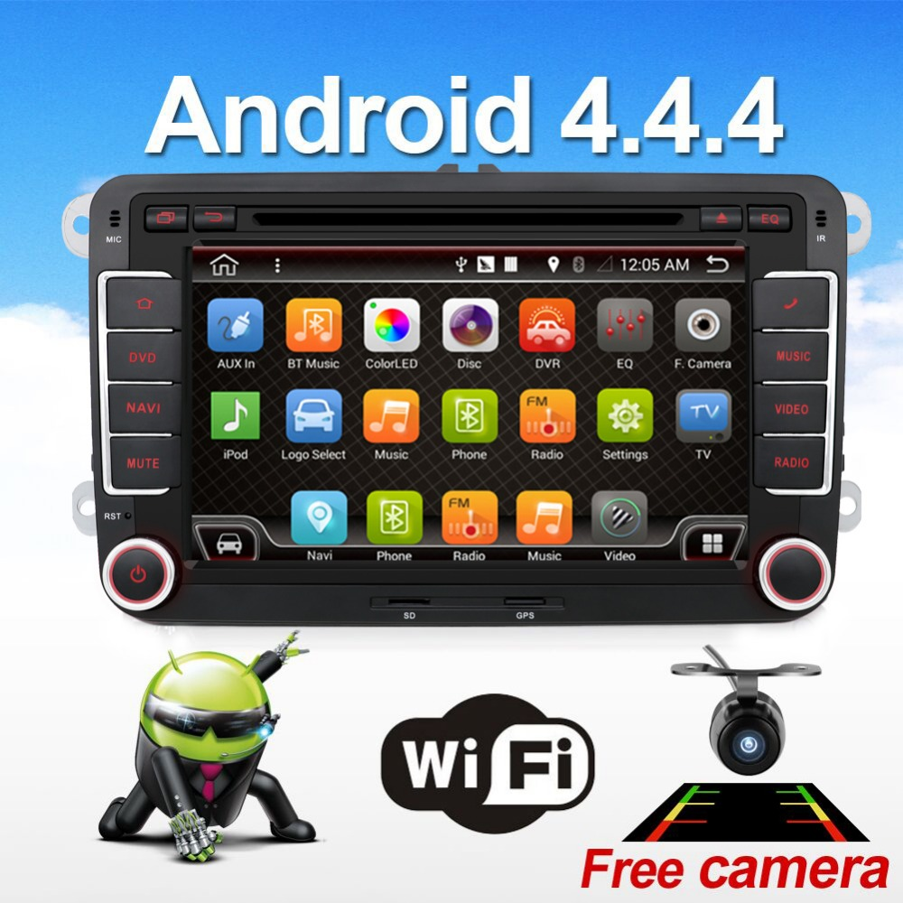 2 two din Aux gps Dual Core android 4.4 car dvd player TV For VW Skoda POLO GOLF 5 6 PASSAT CC JETTA TIGUAN TOURAN Fabia Caddy(China (Mainland))