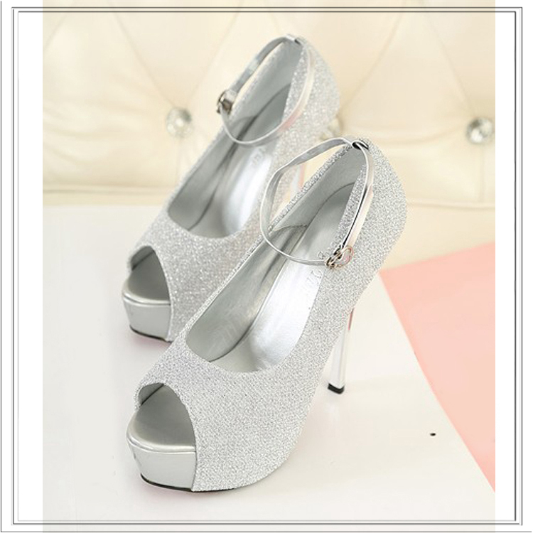 2014 Ladies Silver Pumps Sexy Ankle Strap Stilettos High Heeled Party Shoes Woman Purple Peep Toe Red Sole Platform High Heels(China (Mainland))