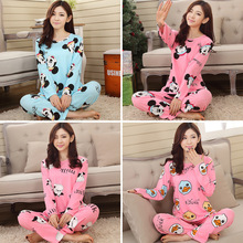 New hot 2015 Spring Autumn Womens Pajama Sets O-Neck Long Sleeve Women Sleepwear Pajamas girls nightgown for woman free shipping