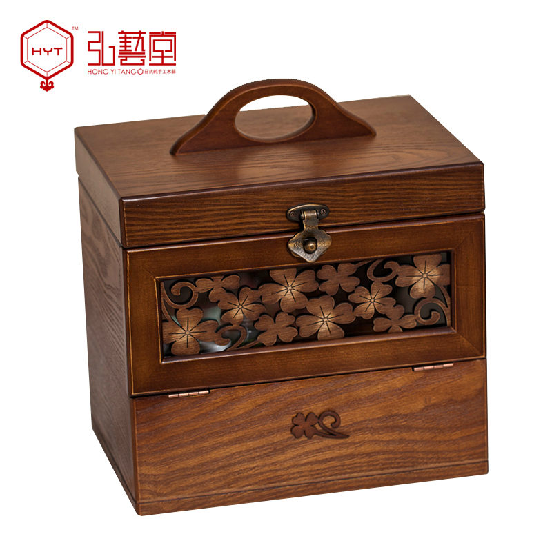 Hongyitang solid wood carved with retro makeup box clover mirror cosmetic storage box(China (Mainland))