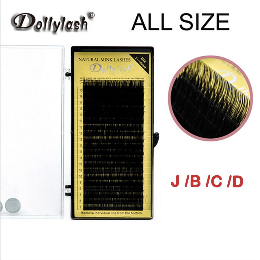 ALL SIZE 20 ROWS/TRAY Individual Eyelash Extension High Quality Natural False Mink Eyelash Extension 7 To 15mm Mix Free Shipping(China (Mainland))