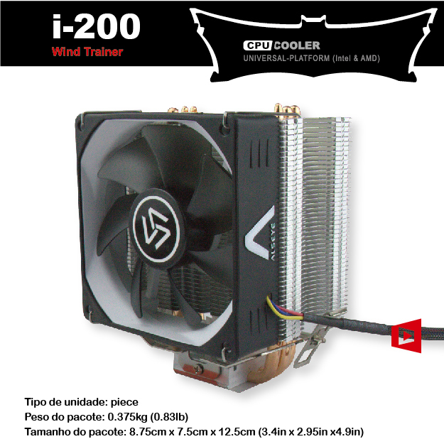 Wind Trainer i-200 CPU cooler 9.2 cm for central processor 95W 3 heat pipes silicone aluminum base aluminum Fin 120mm PWM 4 pin(China (Mainland))
