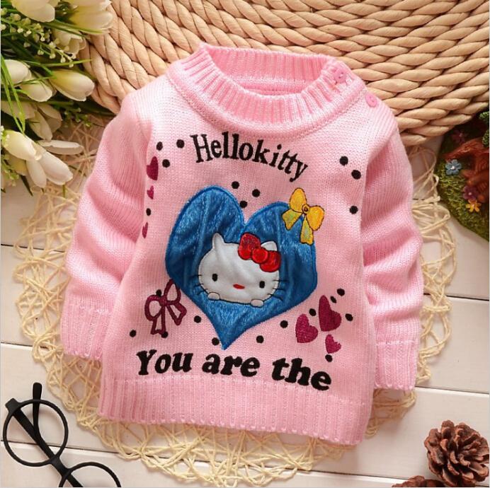baby girl's sweater 2015 hello kitty sweater shinny print Winter clothing kid' sweater children cartoon sweater(China (Mainland))