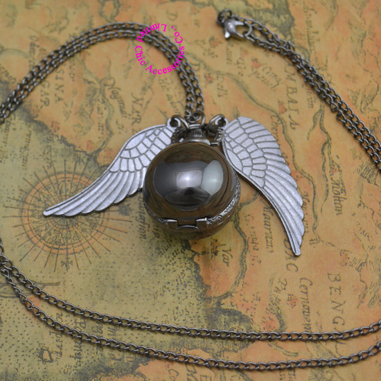 hot fashion popular retro antique black wing gold snitch quartz ball pocket watch necklace women hour