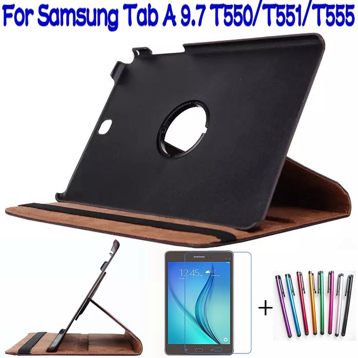 Hot Sale !!! Stand Folding PU Leather Cover for Samsung Galaxy Tab A 9.7 T550 T555 Tablet Case+Free Screen Protector+Stylus Pen(China (Mainland))