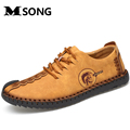MSONG 2017 New Leather Men Shoes Summer Shoes Men s Flats High Quality Handmade Men s