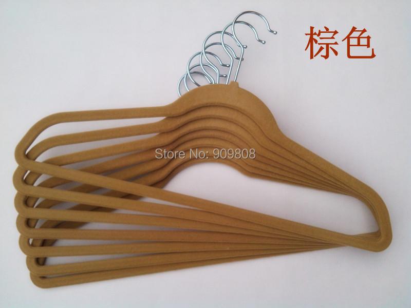 free shipping 100pcs/lot ABS plastic velvet flocked non-slip coat hanger(China (Mainland))