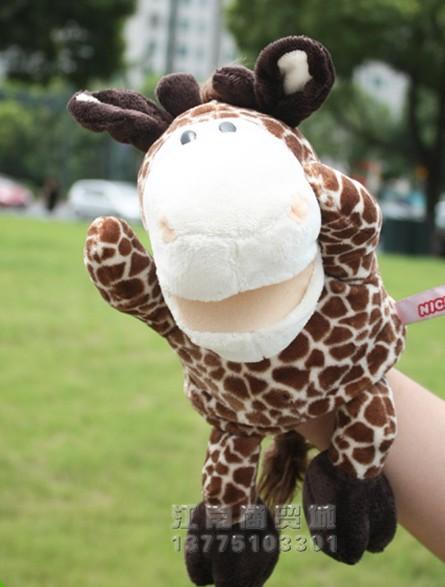 Hot sale 1pc 30cm nici creative giraffe deer hand puppets with feet plush game story doll stuffed toy baby sleeping gift(China (Mainland))