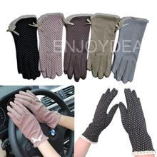 New  Women UV Protection Cotton Lace Antiskid Racing Driving Gloves Gray(China (Mainland))