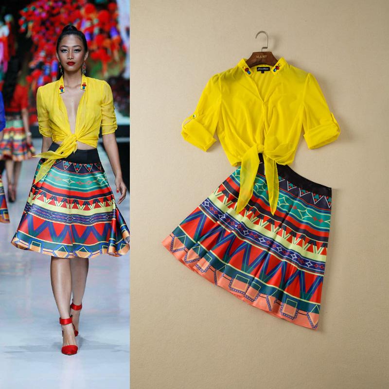 Free Shipping ! Fashion Women's 2014 Spring Summer Ruslana Korshunova Beading Pure Color Top +Printed Short Skirt Casual Twinset(China (Mainland))
