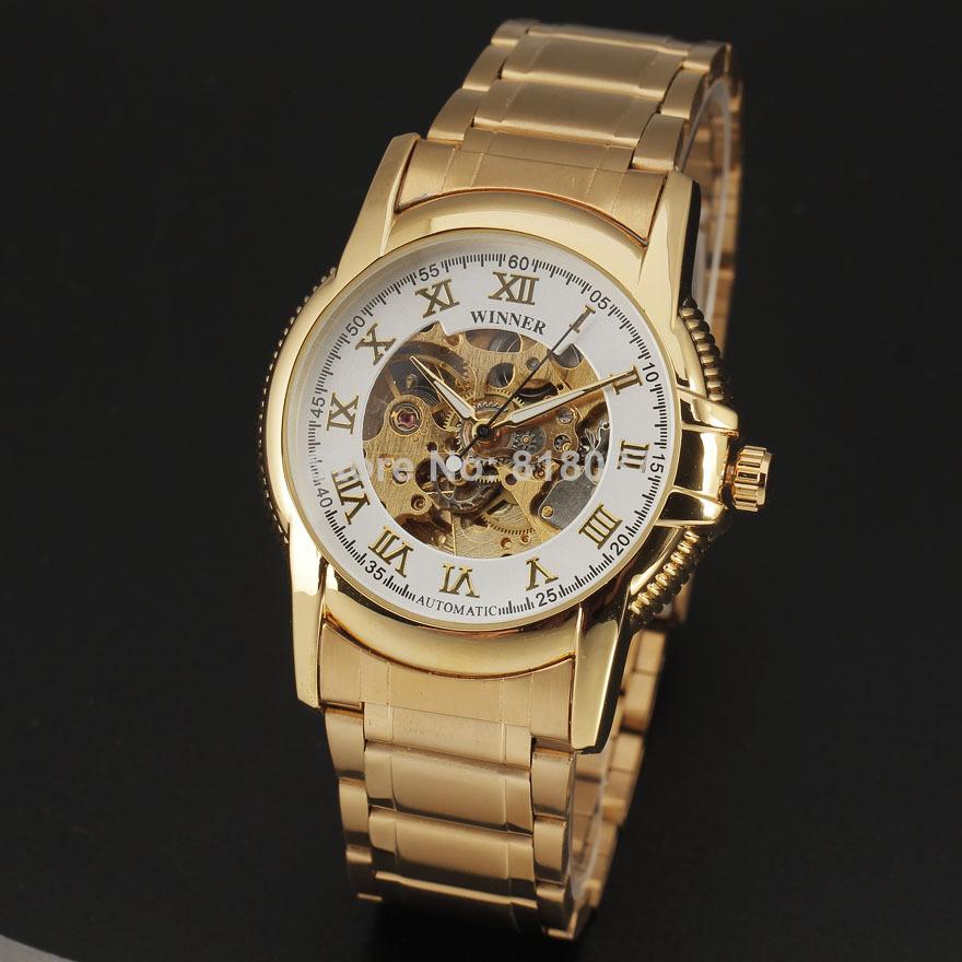 Победитель скелет золото полный сталь нержавеющей ремешок мужчины вилочная часть механический автоматическое self-ветер до запястья часы 8264