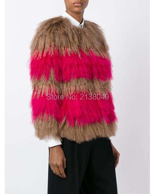 FC062 Новый 2017 женщин шубы натуральный мех пальто горячая продажа монголия ягненка меха падение доставка