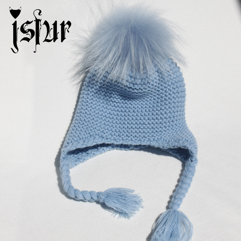 12-36Months New Warm Winter Wool Blend Knitted Kids Earflap Hat with Matching Color Real Raccoon Fur Pom Poms Baby Caps and Hats(China (Mainland))