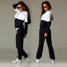 2016 Fashion Womens Zipper Tracksuit Hoodie Sweatshirt+Pants Casual Patchwork Hip Pop Sportsuit Jogging Suits For Women