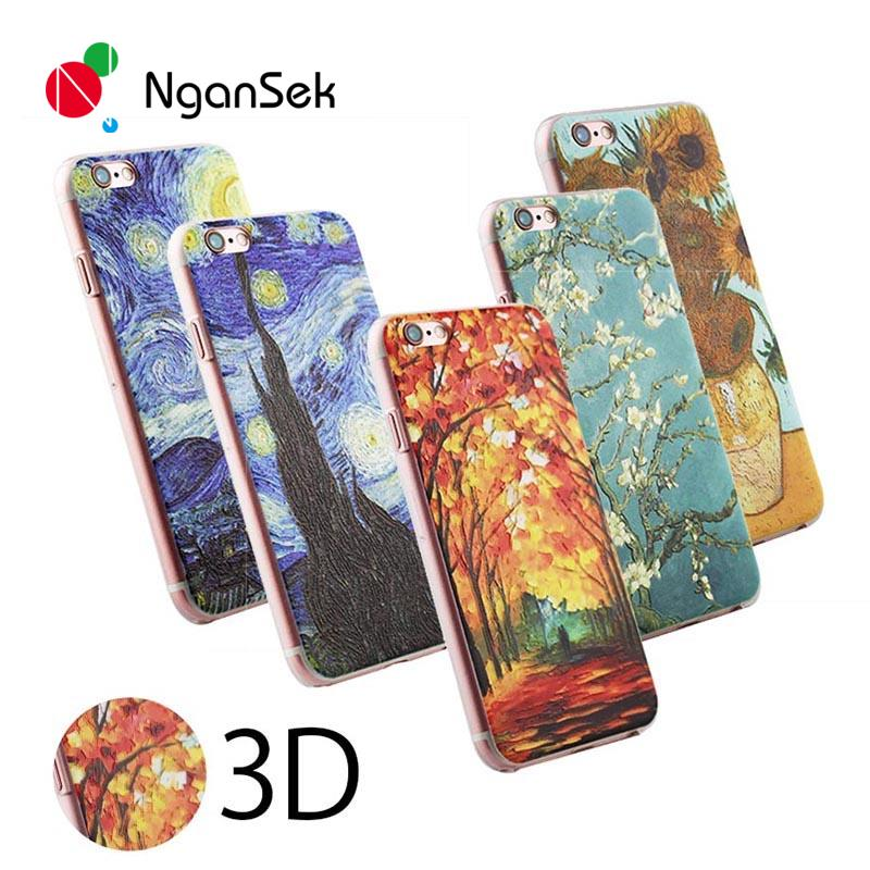Cell Phone Protective Cover For Apple iPhone SE 4 4s 5 5s 6 6plus 6s 6splus 3D Patterns Van Gogh Starry Night Phone Case(China (Mainland))