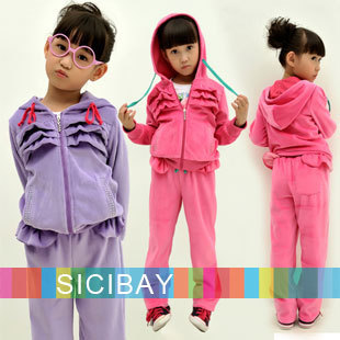 New Arrivals, Children Tracksuit Winter Fashion Velvet Clothing Set for Girls Wear Hooded Solid Color Suit, Free Shipping