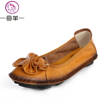 Spring genuine leather comfortable flat shoes handmade flower women's leather casual shoes quinquagenarian women's shoes mother