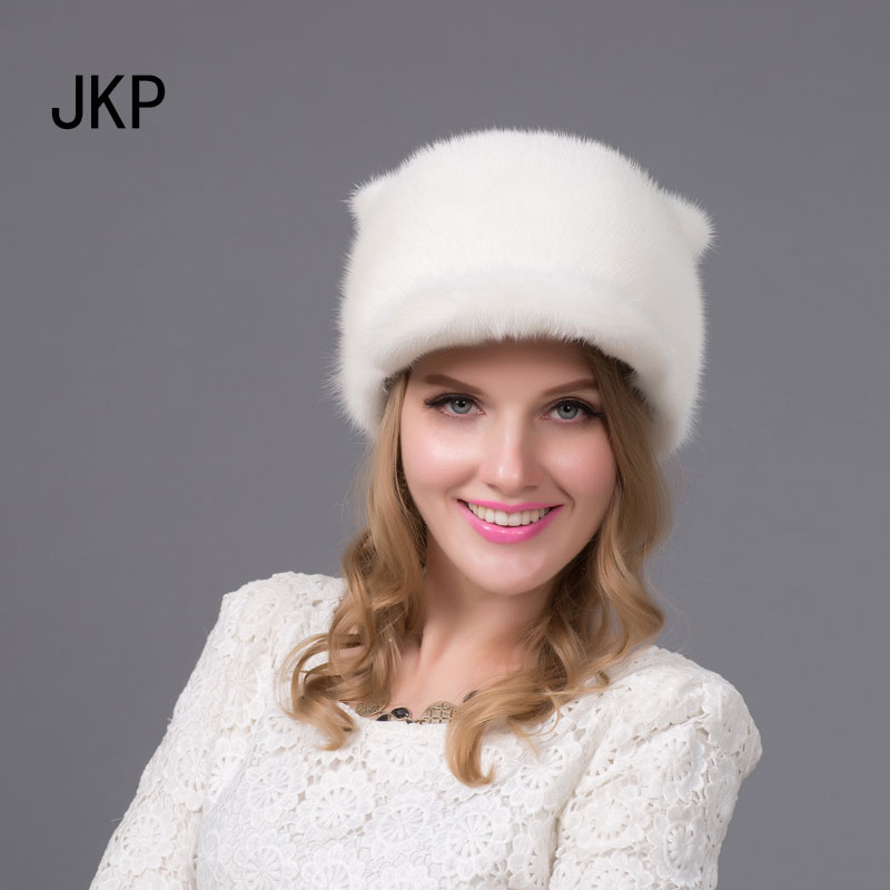 Фотография Russia New fashion style Winter fur hat for women real mink fur cap with cute Orecchiette ladies small tail good quality