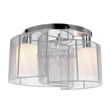 Modern White Fabric Shade Ceiling Flush Mount Light Max 80W With 2 Lights Chrome Finish(China (Mainland))