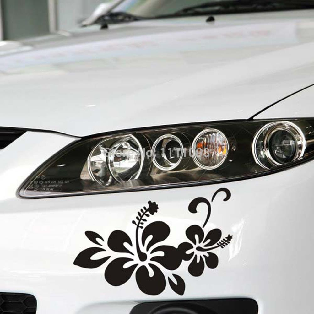 Car sticker design shop - 10 X Newest Design Car Styling Plant Flowers Decal Decoration Accessories For Tesla Volkswagen Renault Opel Lada