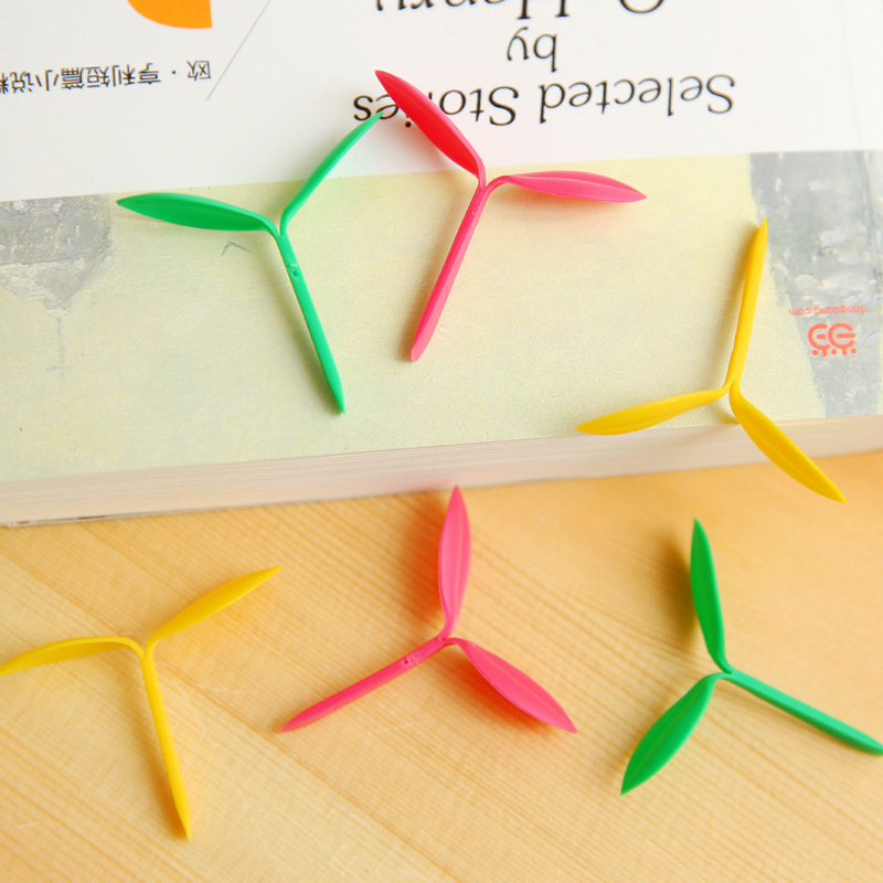 60 pcs/Lot The Green leaf bookmarks Sprout bookmark Page hoder Stationery Office accessories School supplies Gift 6338(China (Mainland))