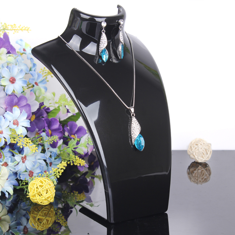 2014 New and Hot sale Black color 20*13.5cm Mannequin Necklace Jewelry Pendant Display Stand Holder Show Decorate Retail()