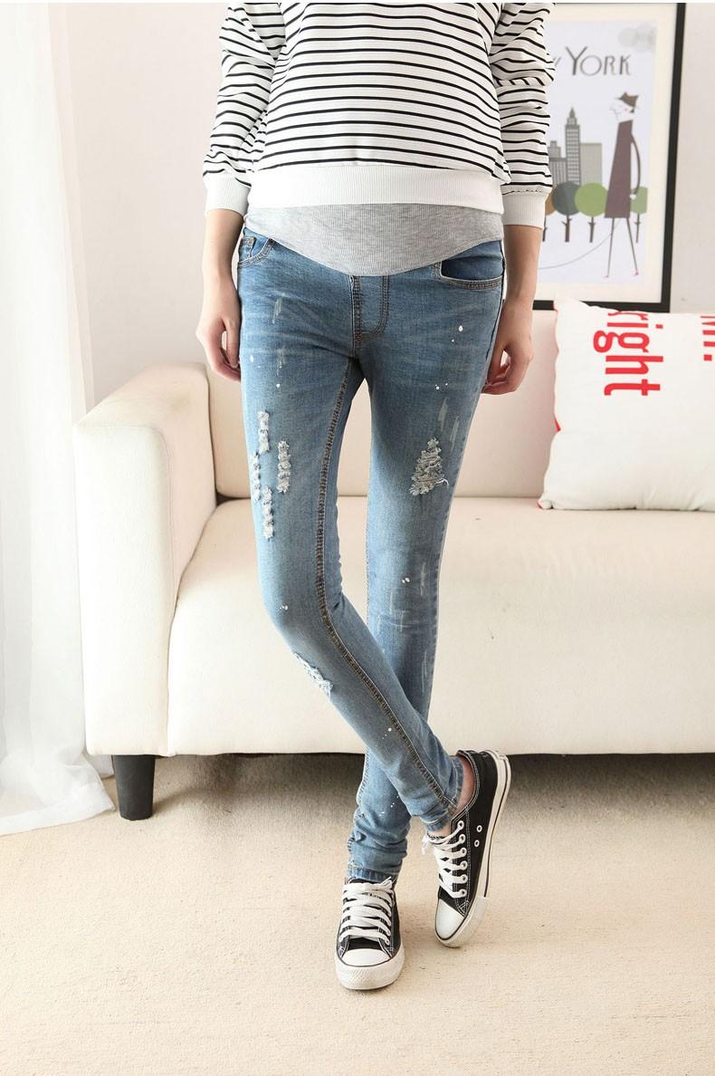 Отверстия дизайн для беременных джинсы приталенный деним брюки пресс брюки для беременных женщины беременность одежда