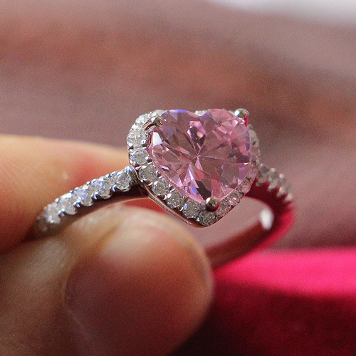 Pretty In Touched High Quality 2Ct Pink Heart Shape Synthetic Diamond Ring fo