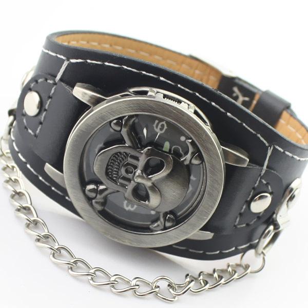 Hot selling fashion punk skull leather strap watch men vintage sport skeleton quartz wrist watch Relogio
