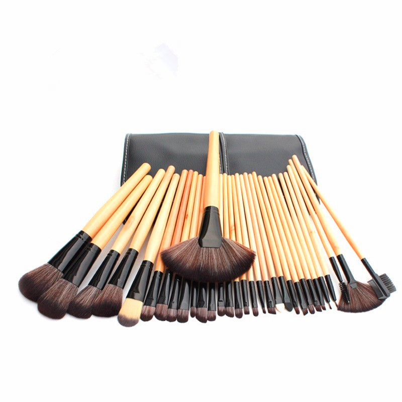 32pcs professional makeup brush set,professional makeup brush set wood makeup brushes,Escova profissional maquiagem+Bolsa preta(China (Mainland))