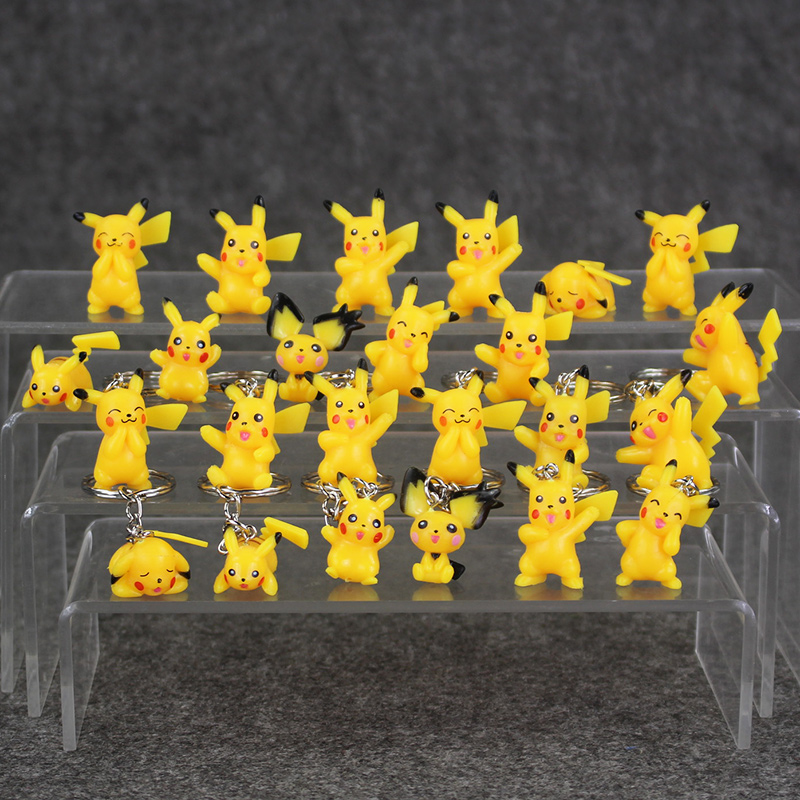 12Pcs/lot Pikachu PVC Figure Keychain Ornaments Key Chain & figures Keyring(China (Mainland))