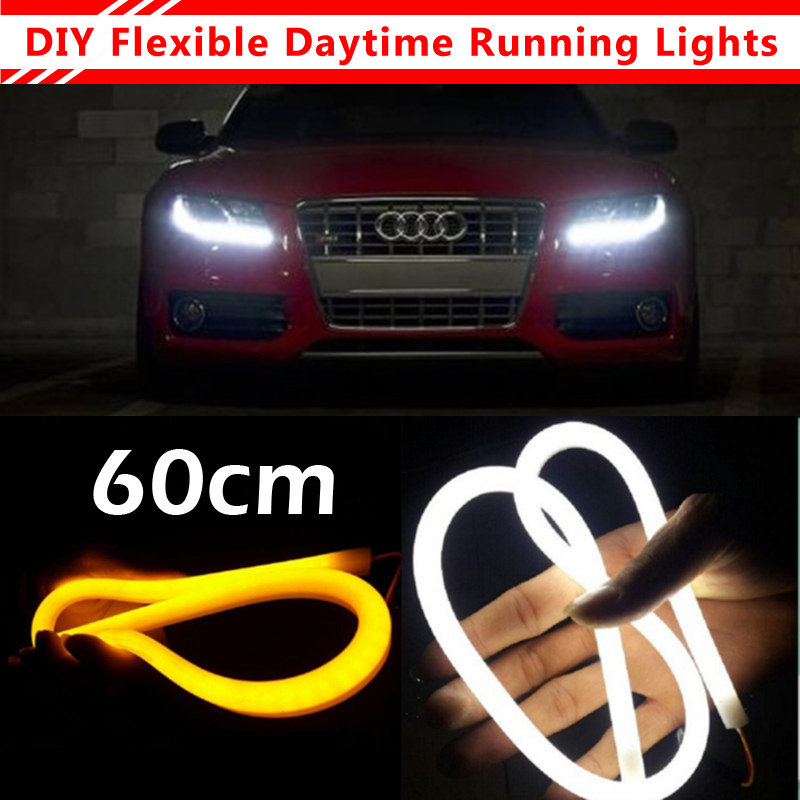 2Pcs/Lot 60cm 12W White+Yellow Flexible Headlight Daytime Lamp Switchback Strip Angel Eye DRL Decorative Light With Turn Signal(China (Mainland))
