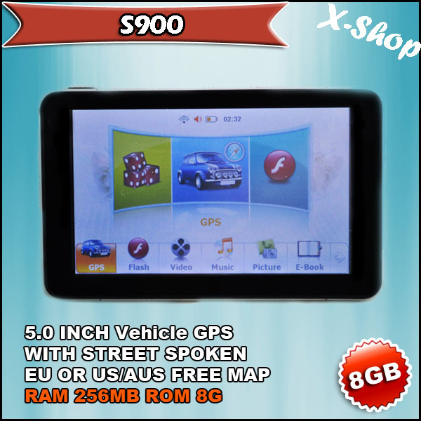 New arrival gps navigation 5 inch 800* 480 HD touch screen +SIRF5+256MB SDRAM 8GB nand flash, Mp3,Mp4(China (Mainland))