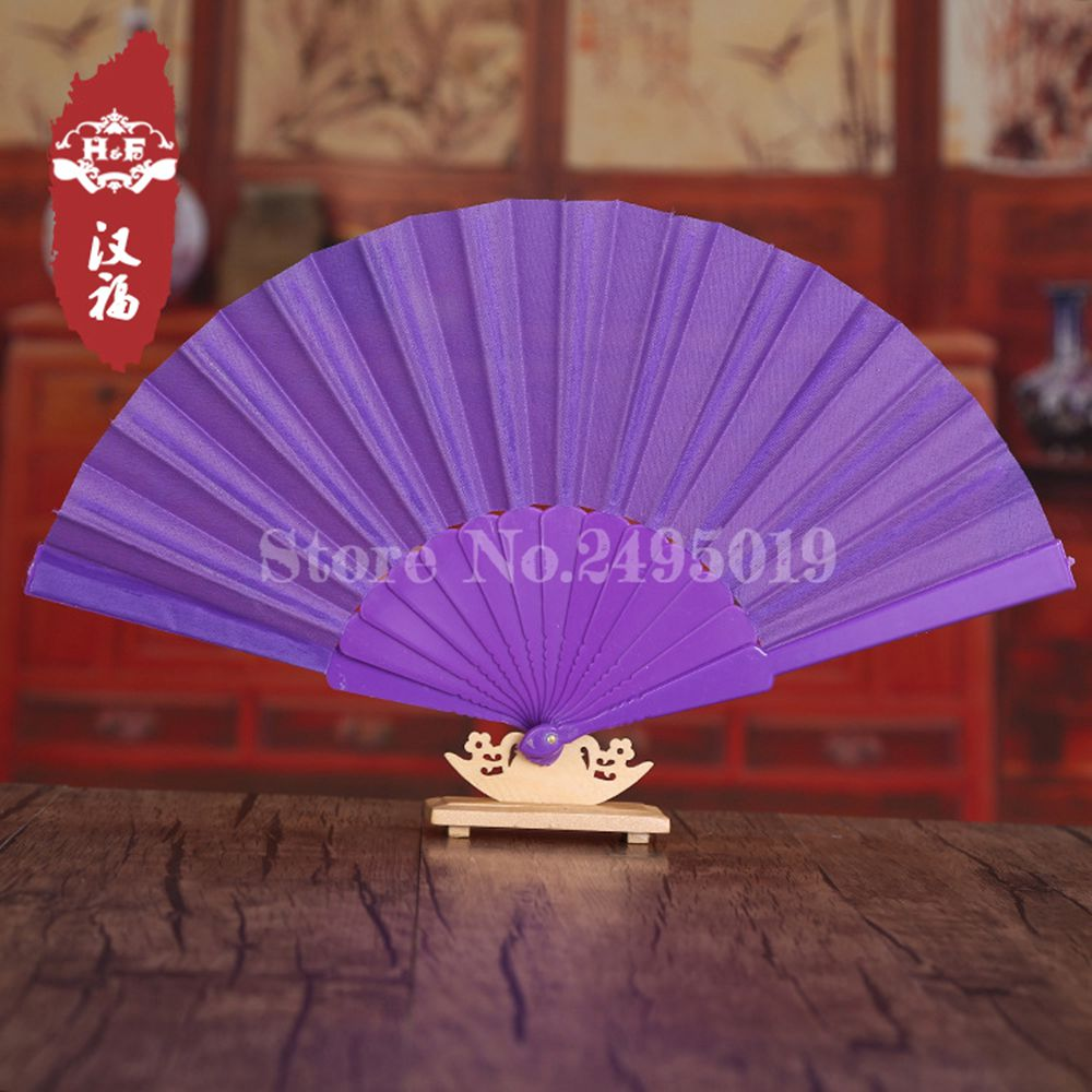 Free Shipping 10pcs/lot Spanish Chinese Plastic Plain Hand Held Fabric Folding Fan Blank Folding Hand Fan Dancing Folding Fan(China (Mainland))