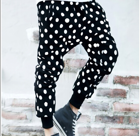 Non-mainstream personality dot casual cross pants mens harem tide male Korean Slim feet trousers plus size Polka Dot