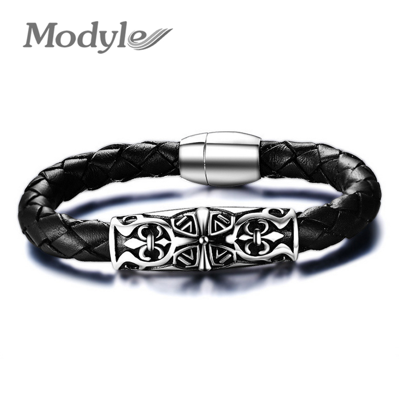2016 New Fashion Black Men Genuine Leather Bracelet Cool Stainless Steel Bracelets & Bangles Jewelry Charms Bracelets(China (Mainland))