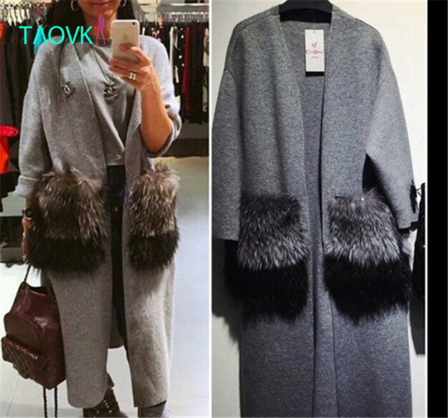 Russian famous TaoVK fashion 2016 women Autumn V-neck long knitted cardigan
