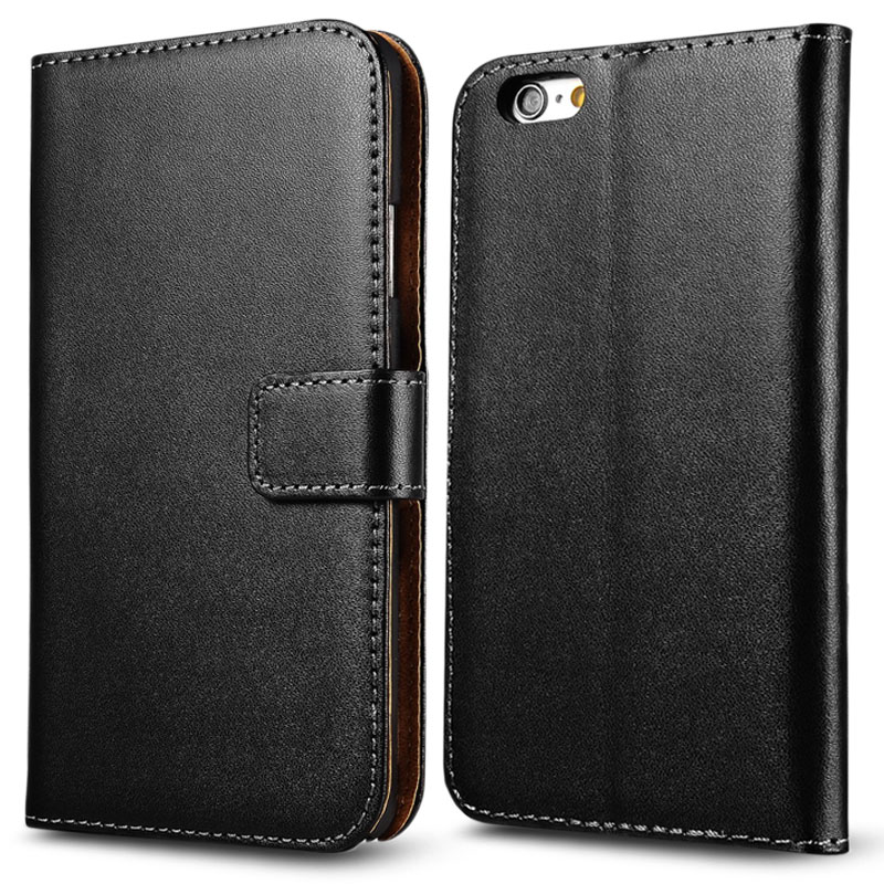 Flip Wallet Grenuine Leather Case For iPhone 6 Plus 5.5 Inch Phone Fundas Coque Stand Design With Card Slot Plastic Back Cover(China (Mainland))