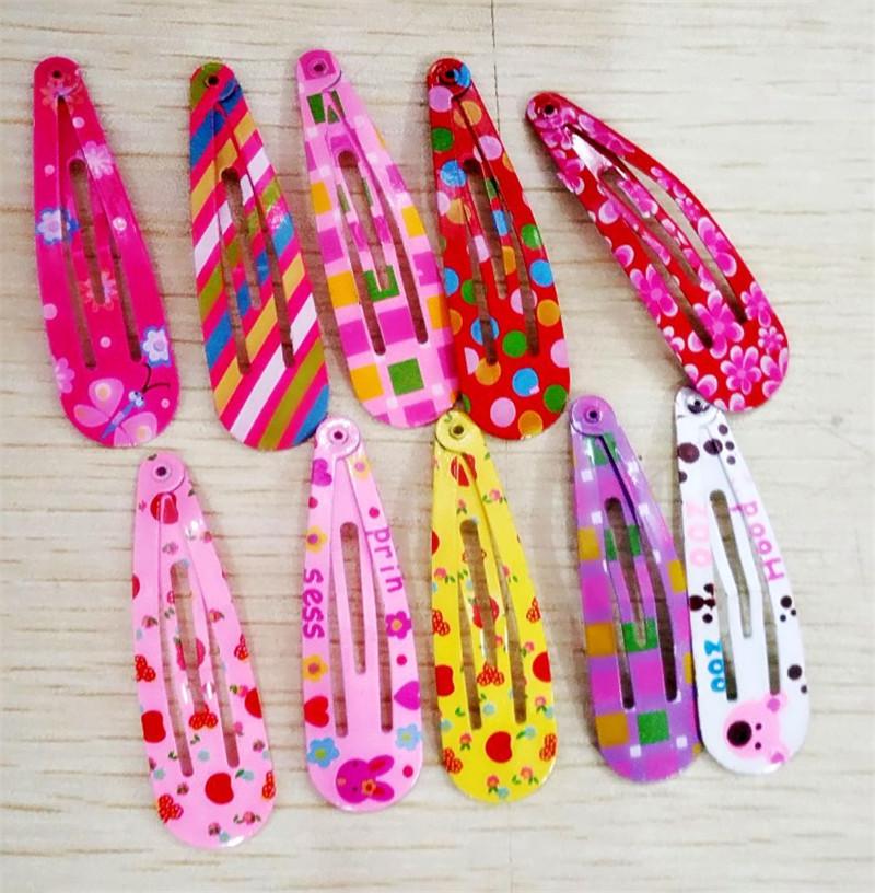 2016 Cute Hair Clip Baby Girls Bow Hair Accessories Headband Flower Hairpin 50 Pcs/lot Droplet Headdress Print Hairpins for Girl
