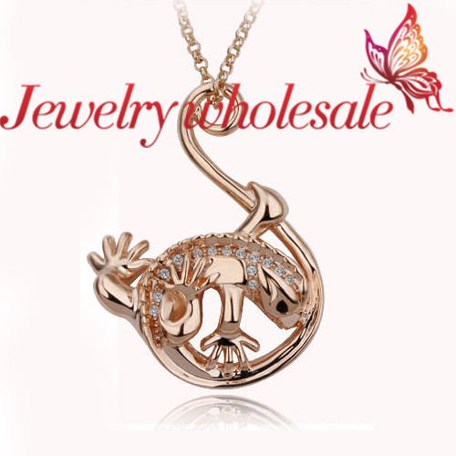 product 2014 new the most popular  South Korea adorn article 18 k rose gold plated lizard necklace - G096-46