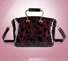2016 High quality butterfly woven pattern women's japanned leather handbag mirror women's elegant handbag messenger bag