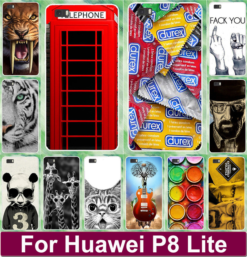 Tiger Lion Cat Giraffe Animal Skull Telephone Booth Painted Cases Shell For Huawei Ascend P8 Lite 5 inch Cell Phone Case Cover(China (Mainland))