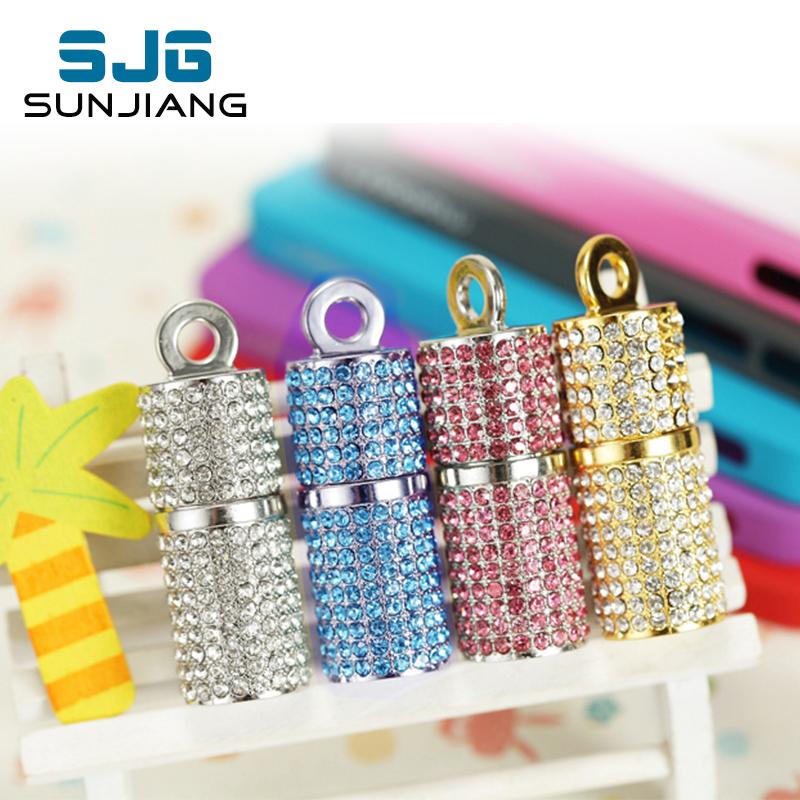 fashion Jewelry Crystal cylinder usb flash drive pen drive memory stick 4GB pendrive 8GB u disk 16GB memory card 32GB 64GB gift(China (Mainland))