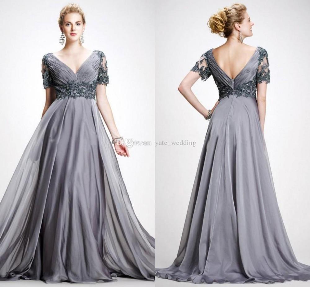 Buy 2015 Charming Short Sleeves V Neck Appliques Chiffon Flo