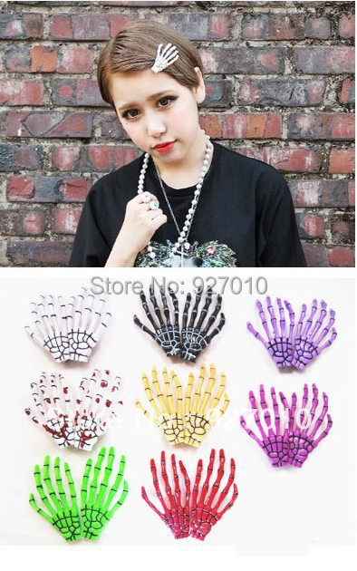 Min order is $10(mix order) Skeleton Claws Skull Single Hand Hair Clip Hairpin Zombie Punk Horror Bobby Pin Barrettes hair clip(China (Mainland))