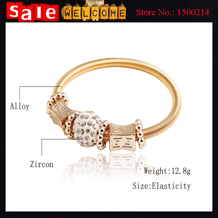 Indian Luxury Jewelry Charm Bangles for Women Enamel Golden Round Square Beads Flower Alloy Bead Spring Thin Bangle Bracelets<br>