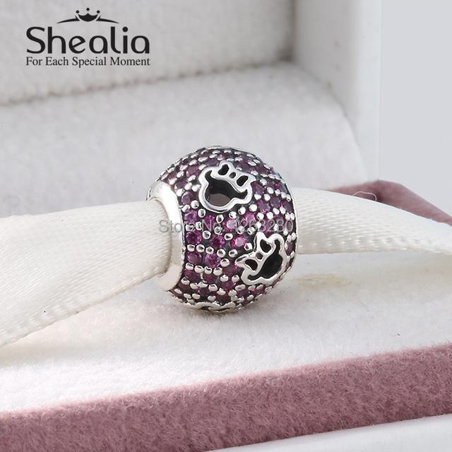 2015 новые подлинные серебро 925 выдалбливают мультфильм мышь силуэты проложить cz шар подвески для женщин известный браслеты diy