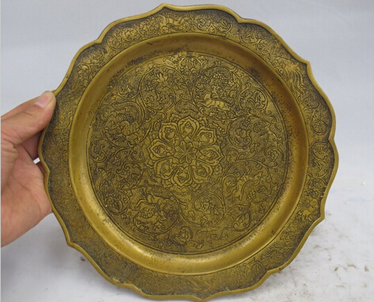 WBY---426+++ China Royal Bronze Copper Dragon Phoenix Animal Palace Salver Tray Dish Plate(China (Mainland))