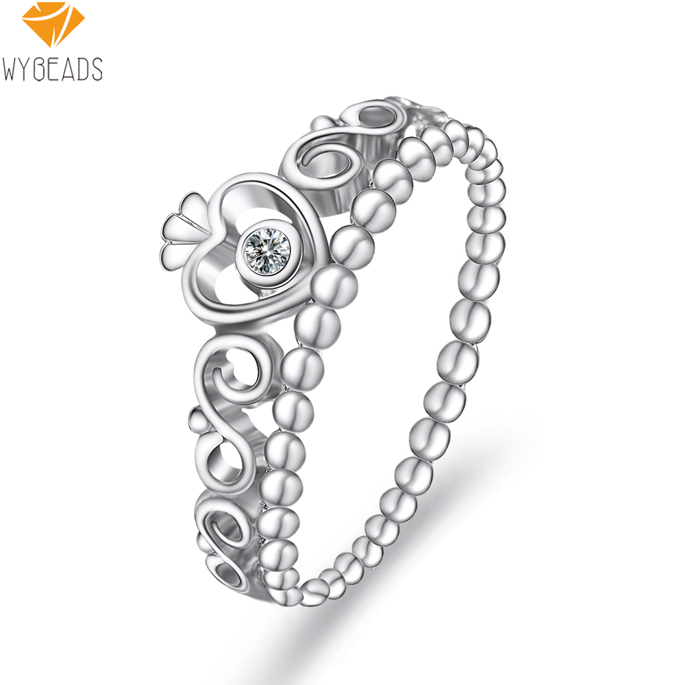 925 Sterling Silver My Princess Stackable Rings With Clear CZ Ring Finger For Women Female Gift Fashion Original Jewelry Making(China (Mainland))