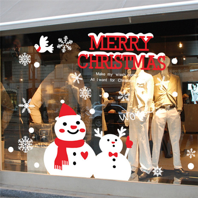 Fashion style Merry Christmas Xmas PVC Removable Snowman Display Window Showcase Decor Wall Stickers #50 2016 Gift 1pc(China (Mainland))